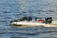 Bolide on water on line on Neva at Formula 1 Power Stock Image
