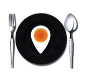 Bolied egg markers of places Royalty Free Stock Photo