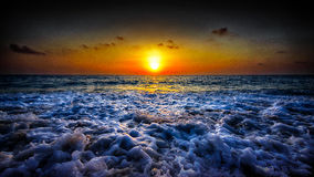 Boling waters. A summer sunset seascape theme Royalty Free Stock Photos