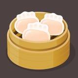 Bolinha de massa cozinhada Dim Sum do camarão Fotos de Stock Royalty Free