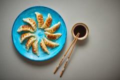 Bolinhas de massa asiáticas tradicionais Gyozas na placa cerâmica de turquesa fotos de stock