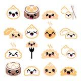 Bolinhas de massa chinesas de Kawaii, ícones asiáticos bonitos do vetor de Dim Sum do alimento ajustados Imagem de Stock