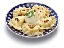 Bolinhas de massa de Pierogi, alimento polonês Fotos de Stock Royalty Free
