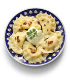 Bolinhas de massa de Pierogi, alimento polonês Fotografia de Stock