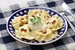 Bolinhas de massa de Pierogi, alimento polonês Fotos de Stock