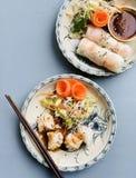 Bolinhas de massa do dim sum e rolos do papel de arroz do verão Imagens de Stock