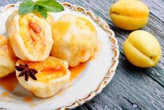 Bolinhas de massa do fruto com abricó imagem de stock