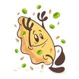 Bolinhas de massa fritadas japonesas Gyoza Caráter do artoon do ¡ de Ð Cercado por especiarias No fundo branco Vetor ilustração stock