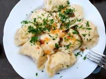 Bolinhas de massa polonesas tradicionais do queijo e da batata com salsa e a cebola grelhada imagens de stock