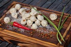 Bolinhas de massa reais, deliciosas, do russo na tabela, com ervas e as especiarias frescas fotos de stock
