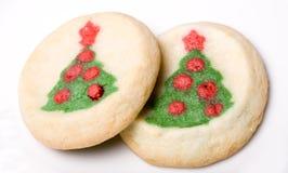 Bolinhos de açúcar da árvore de Natal Fotografia de Stock