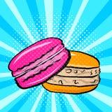 Bolinhos de amêndoa doces no pop art ilustração royalty free