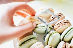 Bolinhos de amêndoa franceses caseiros na placa, no pistache, no café e no Va fotografia de stock royalty free