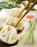 Bolinhos de massa & chopsticks foto de stock