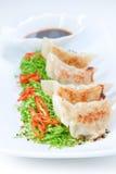 Bolinhos de massa do Ravioli e salada de couve. Fotografia de Stock Royalty Free