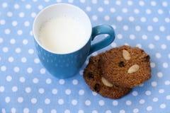 Bolinhos de Oatmeal com raisin e amêndoa e leite Imagem de Stock