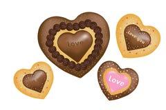 Bolinhos do chocolate (forma dos corações). Vetor Imagens de Stock Royalty Free