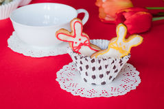Bolinhos do coelho de Easter. Fotos de Stock