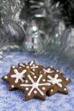 Bolinhos do pão-de-espécie do Natal em uma forma da estrela Imagens de Stock Royalty Free
