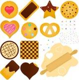 Bolinhos e biscoito com uma massa de pão Imagens de Stock Royalty Free