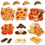 Bolinhos e bolo saborosos ajustados da areia ilustração royalty free