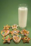 Bolinhos e leite Foto de Stock Royalty Free