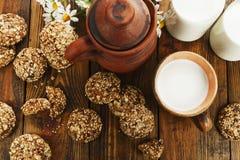 Bolinhos e leite de Oatmeal Foto de Stock Royalty Free