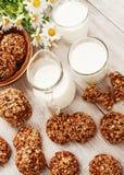 Bolinhos e leite de Oatmeal Imagens de Stock Royalty Free