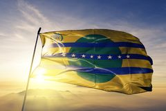 Bolivar State of Venezuela flag textile cloth fabric waving on the top sunrise mist fog. Beautiful royalty free stock images