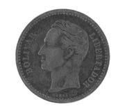 Bolivar sulla vecchia moneta d'argento dal Venezuela Fotografia Stock Libera da Diritti