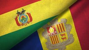 Bolivië en Andorra twee vlaggen textieldoek, stoffentextuur vector illustratie