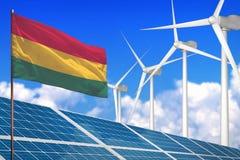 Bolivië zonne en windenergie, duurzame energieconcept met zonnepanelen - duurzame energie tegen het globale industrieel verwarmen vector illustratie