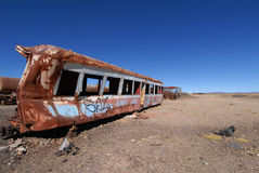 Bolivia. Old abandoned train in Bolivia Royalty Free Stock Photos