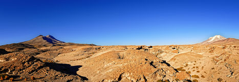 Bolivia altiplano volcanos panorama Royalty Free Stock Image