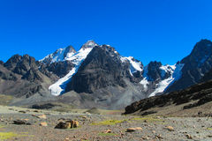 Bolivia Andes snow covered mountain Royalty Free Stock Image