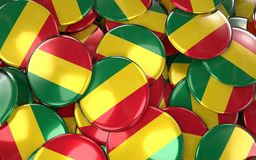 Bolivia Badges Background - Pile of Bolivian national flag  Stock Image