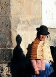 bolivia beklär den gammala traditionella kvinnan royaltyfria foton
