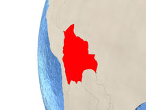 Bolivia on 3D globe Stock Images