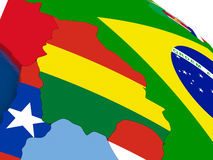 Bolivia on 3D map with flags Stock Photography