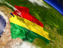 Bolivia with embedded flag on Earth Royalty Free Stock Photography
