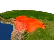 Bolivia en rojo de la órbita stock de ilustración