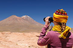 Bolivia expedition. Bolivia - the most beautifull Andes in South America. The surreal landscape is nearly treeless, punctuated by gentle hills and volcanoes near Stock Images