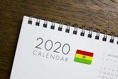 Bolivia Flag on 2020 Calendar.  royalty free stock photos