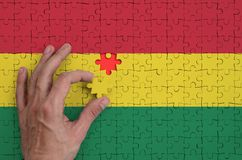 Bolivia flag is depicted on a puzzle, which the man`s hand completes to fold.  royalty free illustration