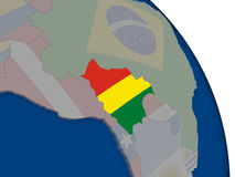 Bolivia with flag on globe Royalty Free Stock Photo