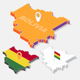 Bolivia flag on map element with 3D isometric shape isolated on background Stock Photography