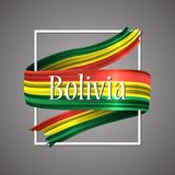 Bolivia flag. Official national colors. Bolivian 3d realistic ribbon. Waving vector patriotic glory flag stripe sign. Vector illustration background. Icon Stock Photography