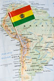 Bolivia flag pin on map Stock Photo