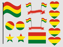 Bolivia flag set. Collection of symbols, flag in heart. Vector Royalty Free Stock Photo