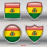 Bolivia Flag in 4 shapes collection with clipping path royalty free stock photos